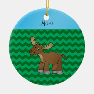 Personalized name moose green chevrons christmas ornament