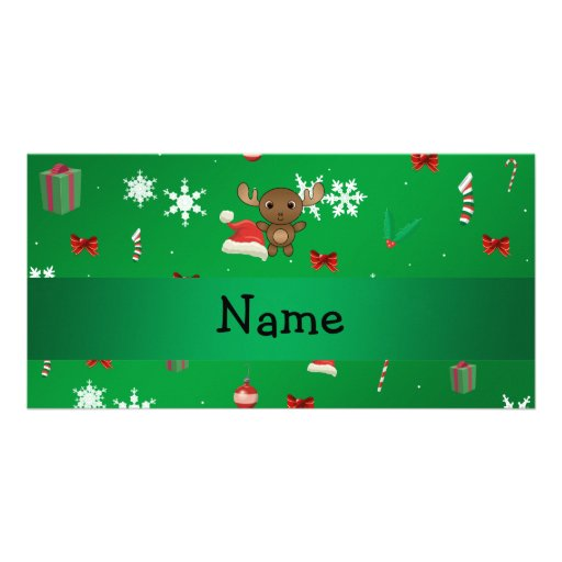 Personalized name moose green christmas pattern photo greeting card