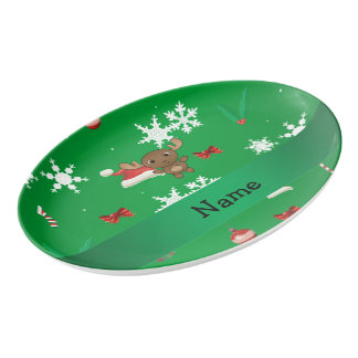 Personalized name moose green christmas pattern porcelain serving platter