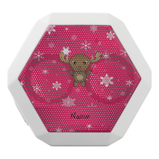Personalized name moose pink snowflakes white boombot rex bluetooth speaker