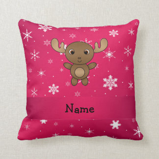 Personalized name moose pink snowflakes cushion