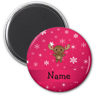 Personalized name moose pink snowflakes magnet