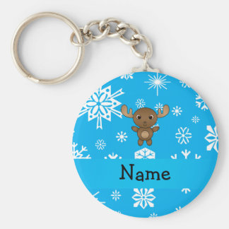 Personalized name moose sky blue snowflakes key ring