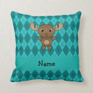 Personalized name moose turquoise argyle cushion