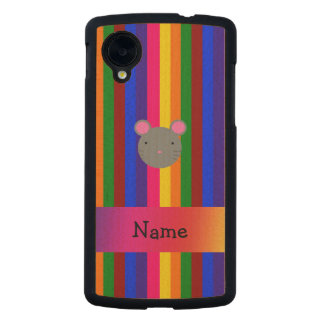Personalized name mouse face rainbow stripes carved® maple nexus 5 slim case