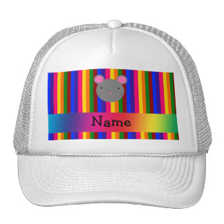 Personalized name mouse face rainbow stripes hats