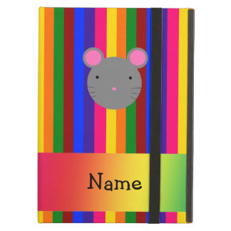 Personalized name mouse face rainbow stripes iPad case