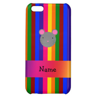 Personalized name mouse face rainbow stripes cover for iPhone 5C