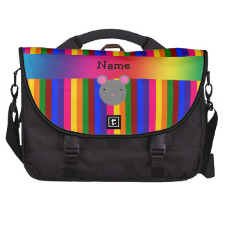Personalized name mouse face rainbow stripes commuter bag