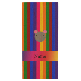Personalized name mouse face rainbow stripes wood USB 2.0 flash drive