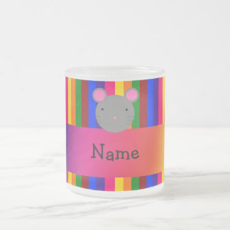 Personalized name mouse face rainbow stripes coffee mugs
