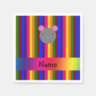 Personalized name mouse face rainbow stripes standard cocktail napkin