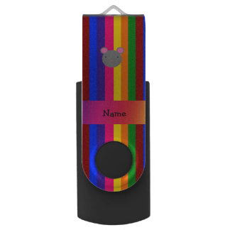 Personalized name mouse face rainbow stripes swivel USB 2.0 flash drive