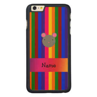 Personalized name mouse face rainbow stripes carved® maple iPhone 6 plus slim case