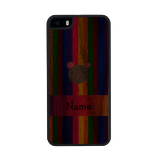 Personalized name mouse face rainbow stripes carved® walnut iPhone 5 slim case