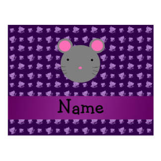 Personalized name mouse purple cats post cards