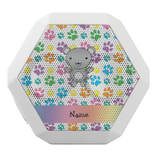 Personalized name mouse rainbow paws white boombot rex bluetooth speaker