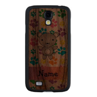 Personalized name mouse rainbow paws carved® walnut galaxy s4 slim case