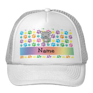 Personalized name mouse rainbow paws mesh hat