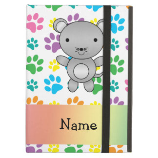 Personalized name mouse rainbow paws iPad cover