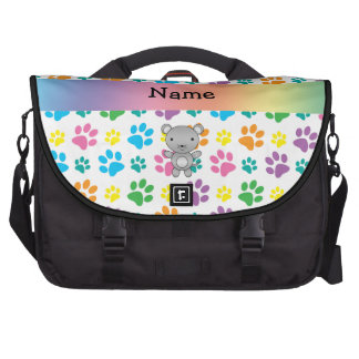 Personalized name mouse rainbow paws laptop commuter bag
