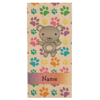 Personalized name mouse rainbow paws wood USB 2.0 flash drive