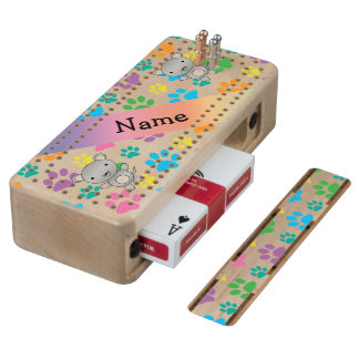 Personalized name mouse rainbow paws maple cribbage board