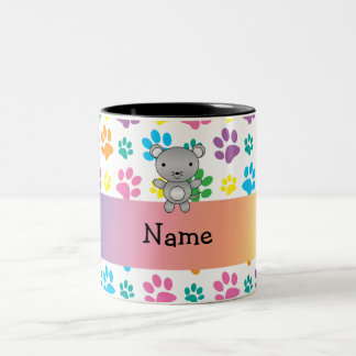 Personalized name mouse rainbow paws coffee mugs