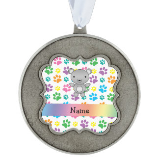 Personalized name mouse rainbow paws scalloped pewter christmas ornament