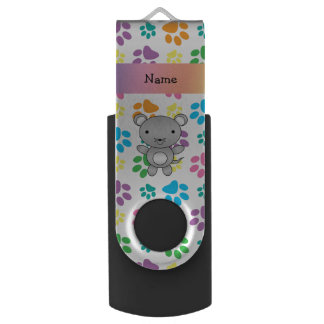 Personalized name mouse rainbow paws swivel USB 2.0 flash drive