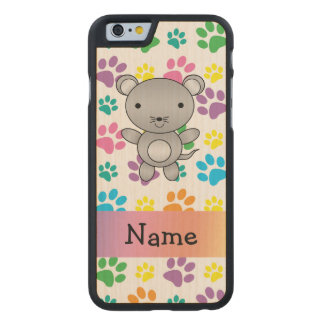 Personalized name mouse rainbow paws carved® maple iPhone 6 slim case