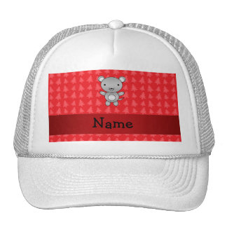 Personalized name mouse red christmas trees cap