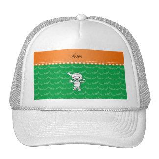 Personalized name mummy green bats trucker hats