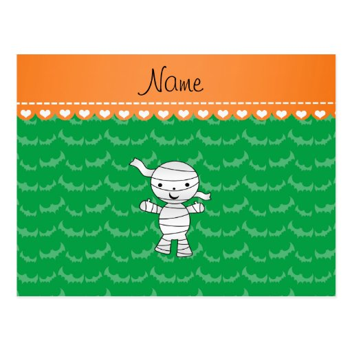 Personalized name mummy green bats postcards