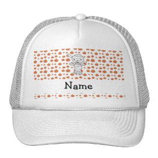 Personalized name mummy orange pumpkins hats