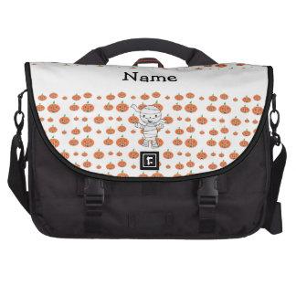 Personalized name mummy orange pumpkins commuter bag