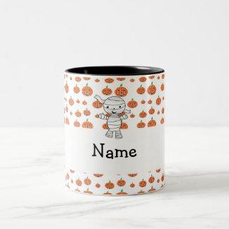 Personalized name mummy orange pumpkins mugs