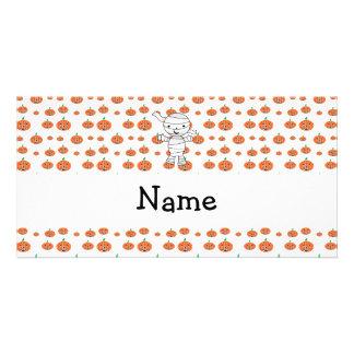 Personalized name mummy orange pumpkins personalised photo card