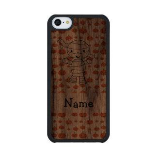 Personalized name mummy orange pumpkins carved® walnut iPhone 5C slim case