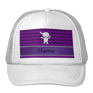 Personalized name mummy purple chevrons hats
