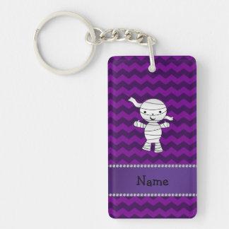 Personalized name mummy purple chevrons key ring