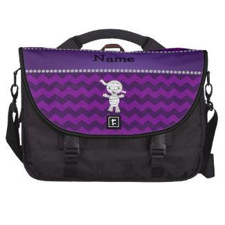 Personalized name mummy purple chevrons laptop bag
