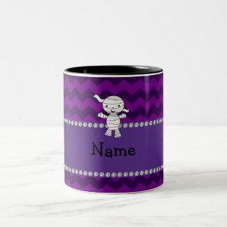 Personalized name mummy purple chevrons mug