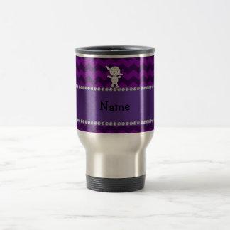 Personalized name mummy purple chevrons coffee mugs