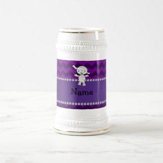 Personalized name mummy purple chevrons mugs