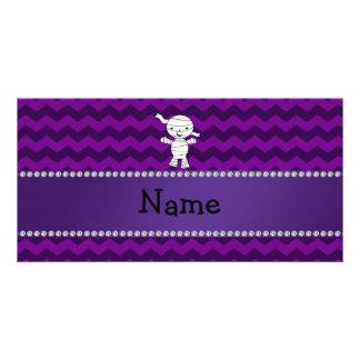 Personalized name mummy purple chevrons photo cards