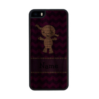 Personalized name mummy purple chevrons carved® walnut iPhone 5 slim case