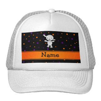 Personalized name mummy purple orange dots hats