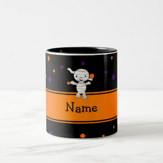 Personalized name mummy purple orange dots mug