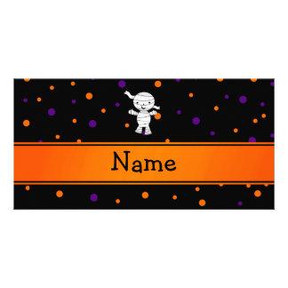 Personalized name mummy purple orange dots customised photo card